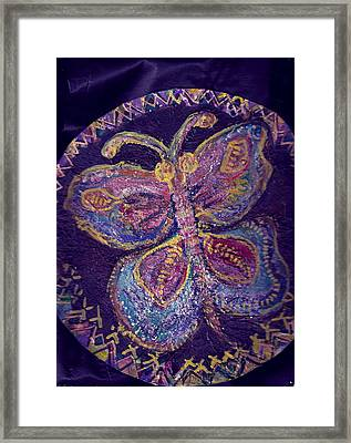 Butterfly With Stitches On Wings Framed Print by Anne-Elizabeth Whiteway