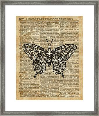 Butterfly Zentagle Vinatge Dictionary Art Framed Print by Joanna Kuch