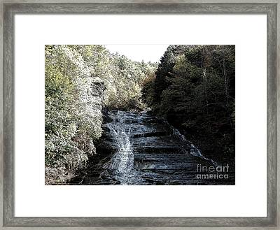 Buttermilk Falls Ithaca New York Ink Sketch Effect Framed Print by Rose Santuci-Sofranko