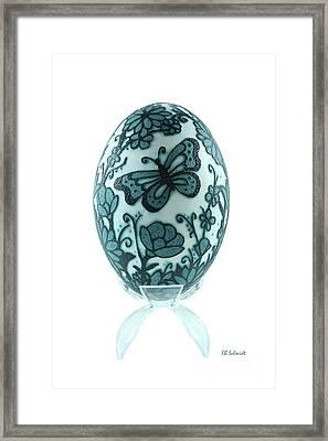 Buttery Fly Garden Emu Egg Framed Print