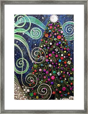 Button Tree 0012-holiday Framed Print by Monica Furlow