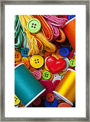 Buttons And Thread Framed Print