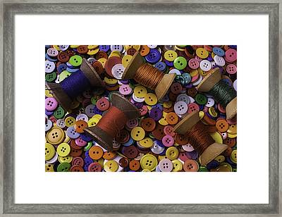 Buttons With Thread Framed Print by Garry Gay