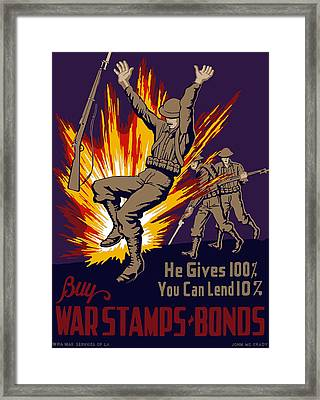 Buy War Stamps And Bonds Framed Print by War Is Hell Store