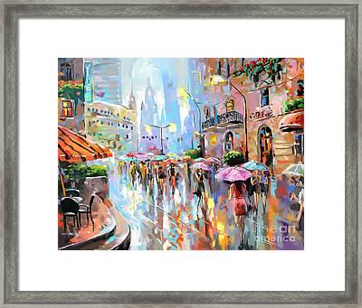 Buzy City Streets Framed Print