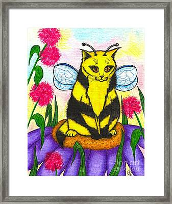 Framed Print featuring the painting Buzz Bumble Bee Fairy Cat by Carrie Hawks