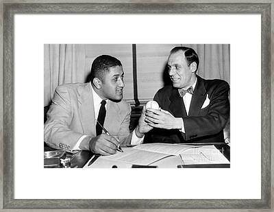 Buzzie Bavasi  Signs Don Newcombe To His New Contract With The Dodgers. 1951 Framed Print by Barney Stein