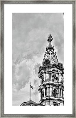Bw Ben Franklin City Hall Framed Print by Chuck Kuhn