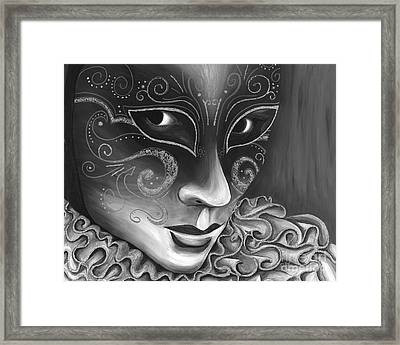 Bw- Carnival Mask Framed Print by Patty Vicknair