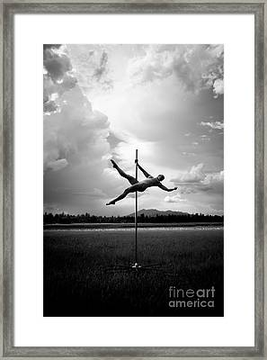 Bw Pole Dancing In A Storm Framed Print