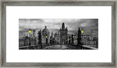 Bw Prague Charles Bridge 04 Framed Print by Yuriy  Shevchuk
