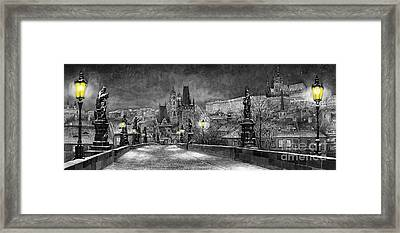 Bw Prague Charles Bridge 06 Framed Print by Yuriy  Shevchuk