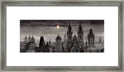 Bw Prague City Of Hundres Spiers Framed Print