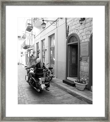 Bw Sexy Girl Riding On Motorcycle With Handsome Bike Rider Speed Stone Paved Street Nafplion Greece Framed Print