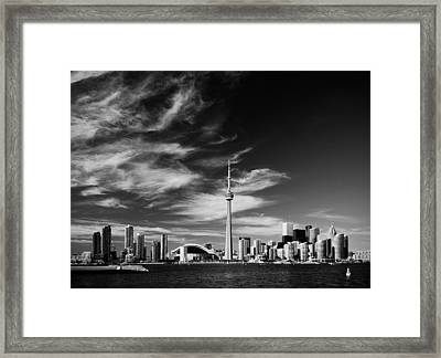 Bw Skyline Of Toronto Framed Print by Andriy Zolotoiy