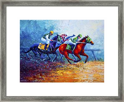 By A Neck Framed Print by Marion Rose