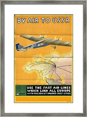 By Air To Ussr With The Soviet Union's Chief Cities - Vintage Poster Folded Framed Print