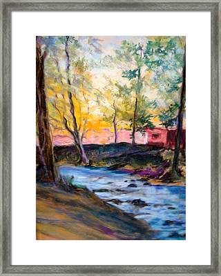 Framed Print featuring the painting By Clear Blue Waters by AnnE Dentler