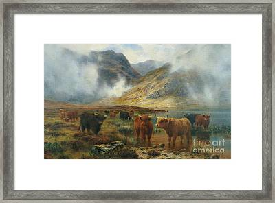 By Loch Treachlan, Glencoe, Morning Mists Framed Print by Louis Bosworth Hurt
