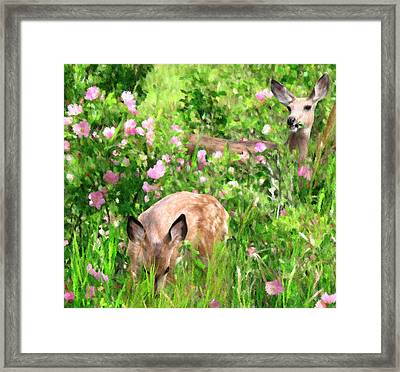By Mother's Side - Impressionist Doe And Fawn Digital Painting Framed Print by Rayanda Arts