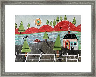 By The Lake August Framed Print by Karla Gerard