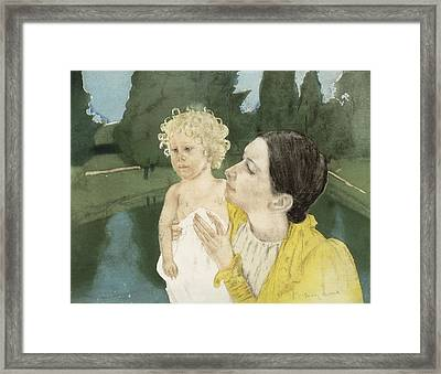 By The Pond Framed Print by Mary Stevenson Cassatt