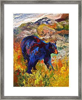 By The River - Black Bear Framed Print by Marion Rose