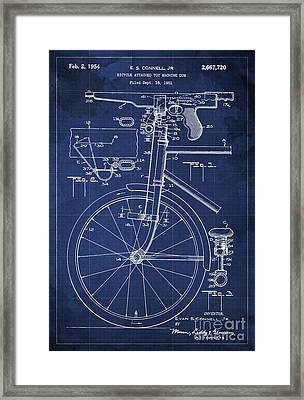 Bycicle Attached Toy Machine Gun Patent Blueprint, Year 1951 Blue Vintage Art Framed Print by Pablo Franchi