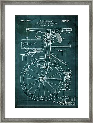Bycicle Attached Toy Machine Gun Patent Blueprint, Year 1951 Green Vintage Art Framed Print by Pablo Franchi