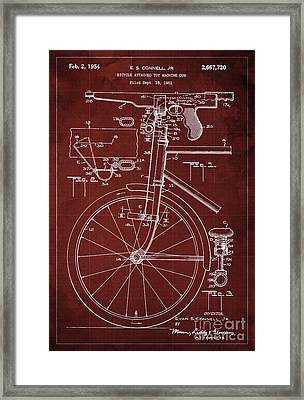 Bycicle Attached Toy Machine Gun Patent Blueprint, Year 1951 Red Vintage Art Framed Print by Pablo Franchi