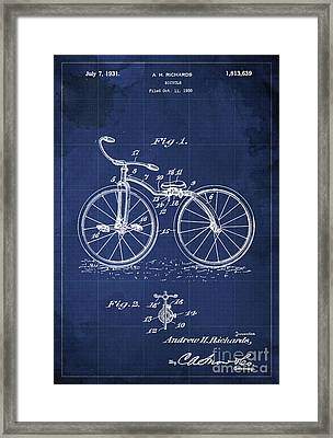 Bycicle Patent Blueprint Year 1930 Blue Vintage Poster Framed Print by Pablo Franchi