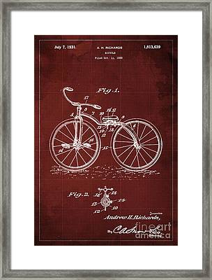 Bycicle Patent Blueprint Year 1930 Red Vintage Poster Framed Print by Pablo Franchi