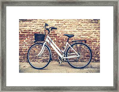 Bycicle Urban Canvas Red Brick Wall Prints Framed Print by Luca Lorenzelli