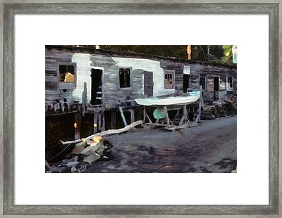 Framed Print featuring the photograph Bygone Boatyard by Carol Kinkead