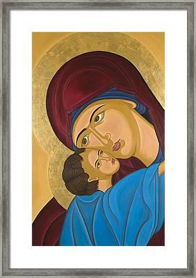 Byzantine Art Mother Love Framed Print by Marinella Owens