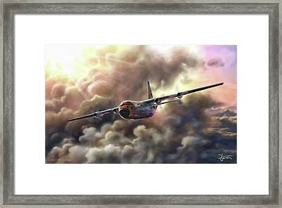Framed Print featuring the painting C-130 Hercules by Dave Luebbert