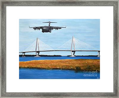 C-17 And Ravenel Bridge Framed Print