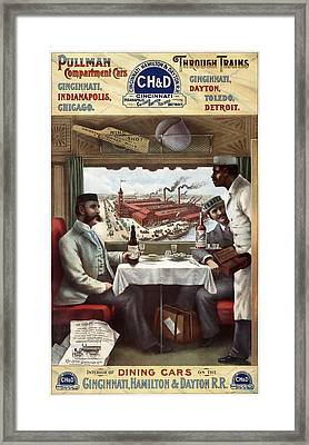 C H And D Railroad Luxury Dining 1894 Framed Print by Daniel Hagerman