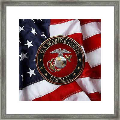 C O And Warrant Officer E G A Special Edition Over American Flag  Framed Print by Serge Averbukh