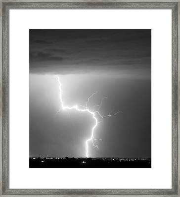 C2g Lightning Strike In Black And White Framed Print