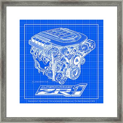 Framed Print featuring the drawing C6 Zr1 Corvette Ls9 Engine Blueprint by K Scott Teeters