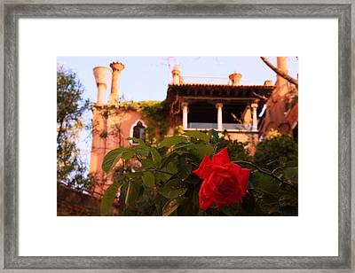 Ca' Dario In Venice With Rose Framed Print by Michael Henderson