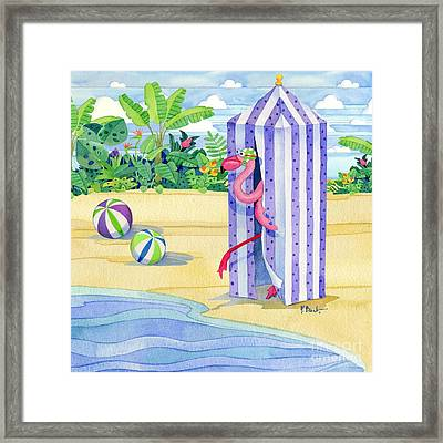 Cabana Flamingo Framed Print by Paul Brent