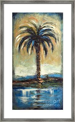 Cabbage Palm Antiqued Framed Print by Linda Olsen