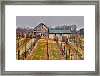 Cabin At Autumn Creek Vineyard Framed Print by Christy Ricafrente