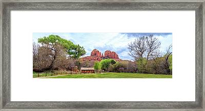 Framed Print featuring the photograph Cabin At Cathedral Rock Panorama by James Eddy