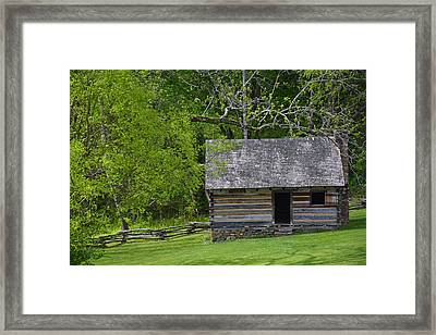 Cabin At Zebulon Vance Birthplace Framed Print by Bruce Gourley