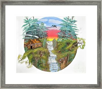 Cabin By The Falls Framed Print