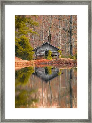 Cabin By The Lake Vertical Framed Print by Shelby  Young