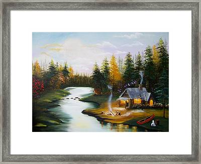 Cabin By The River Framed Print